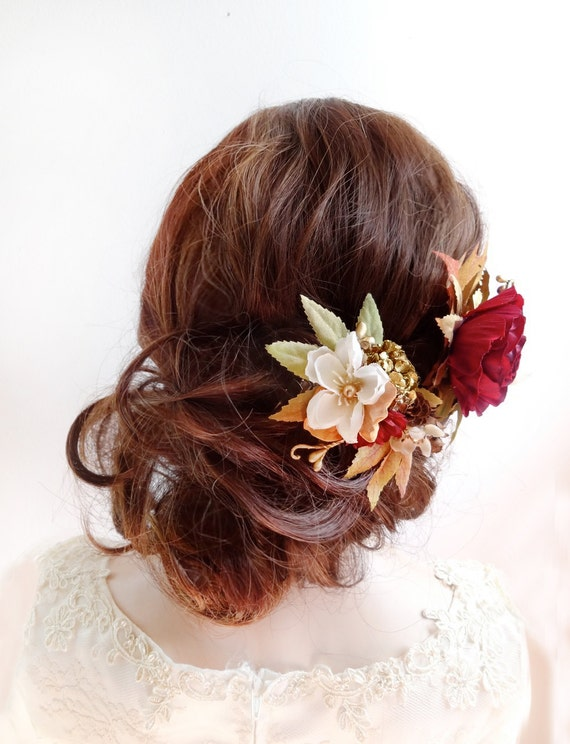 Fall Hair Accessories Fall Hair Clip Burgundy Hair Flower