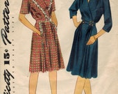 1940s Simplicity 4907 Vintage Sewing Pattern Misses Dress Size 14 Bust 32