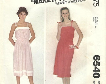 1970s McCall's 6540 Vintage Sewing Pattern Misses Sundress, Sleeveless Dress Size 12 Bust 34