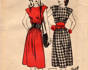 1940s Butterick 4148-S Vintage Sewing Pattern Misses Petite Chemise Dress Size 12 Bust 30