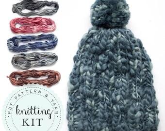 On SALE CHUNKY beanie knitting KIT pompom easy trendy hat saffron gray dusty pink denim copper