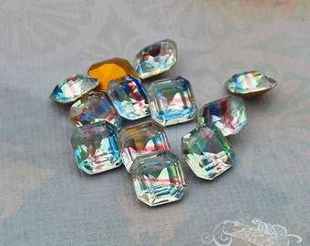 Vintage German Iris Rhinestones  8x8 mm Faceted Square Table Polished Stones (choose 6 pc or 12 pc)