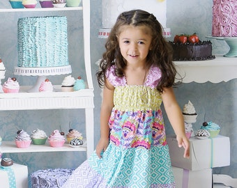 Girls Tiered Dress - Rainbow Dress - Fiesta Dress