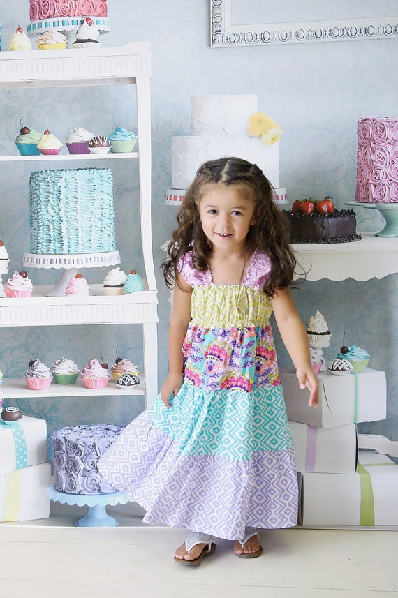 Girls Tiered Dress - Rainbow Dress - Fiesta Dress