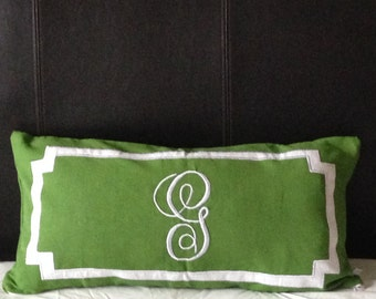 "Personalized Long Lumbar Pillow Cover, Bedroom Decor, Monogram Lumbar Pillows, 12""x24"", Sofa Green Bed Decor"
