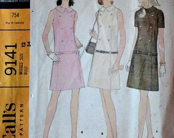 Vintage 60's McCall's 9141 Sewing Pattern,  Misses' Panel Dress in Two Versions, Size 12, 34 Bust, Mad Men Mod