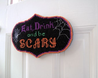 PATTERN: Eat, Drink, and Be Scary Halloween Plastic Canvas Wall Hanging Pattern