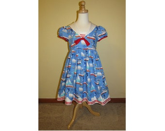 Girls Size 6 Sailor Dress with Sailboat Fabric