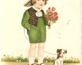 1920's vintage postcard of Dutch kid with flowers and dog; Spanish, Dutch signed
