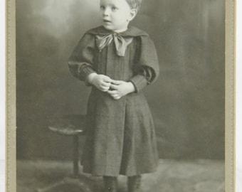 Little Boy Wearing a Dress Identified Cabinet Card Markesan, Cambria Wisconsin 14892