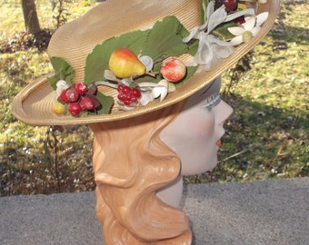 1950s Vintage Straw Hat with Fruit and Flowers Louise Willis Moriarty Knoxville