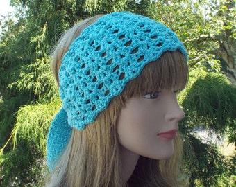 Aqua Blue Yoga Headband, Womens Head Wrap, Tied Crochet Head Band, Workout Headband, Hot Yoga Headband, Boho Headband, Bikram Yoga Headband