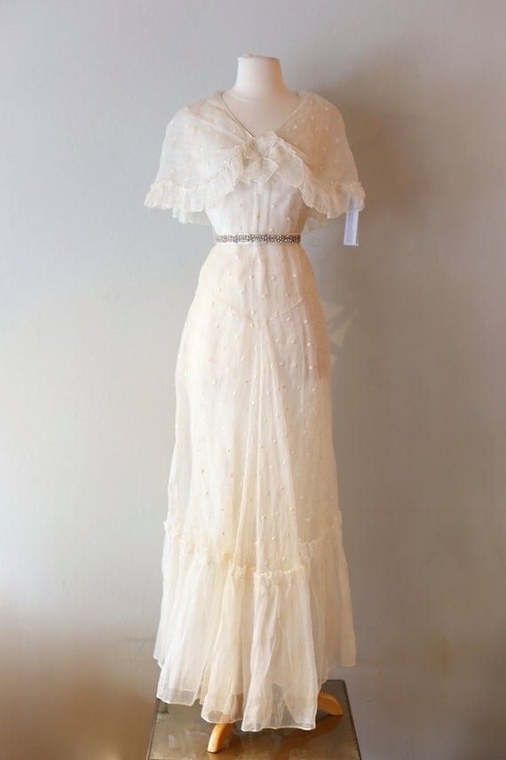 Vintage 1930s wedding dress vintage 30s gatsby style polka for Wedding dress 30s style