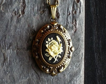 Rose cameo locket necklace, flower cameo, antique brass locket, cameo jewelry, holiday gift ideas, gift ideas for mom, unique Christmas gift