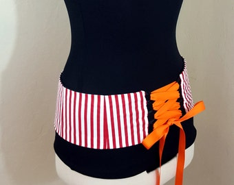Red and White Striped Bellydance Belt Corset Style Any Size