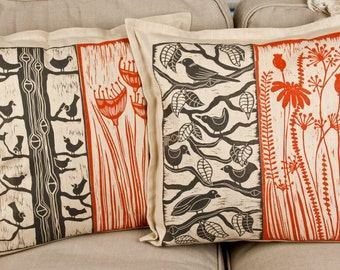 cushion covers, set of 2, birds, flowers, red and black, beige,  printmaking, linocut, hand printed cushions, linen fabric, nature prints