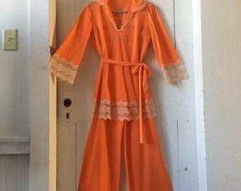 1960s MOD Nylon LISETTE Pajamas Orange Sherbert Creamsicle Wide Ecru Lace Medium