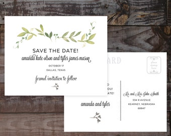 Wedding save the date, save the dates, watercolor save the dates, floral save the dates, save the date postcard, wedding save the dates