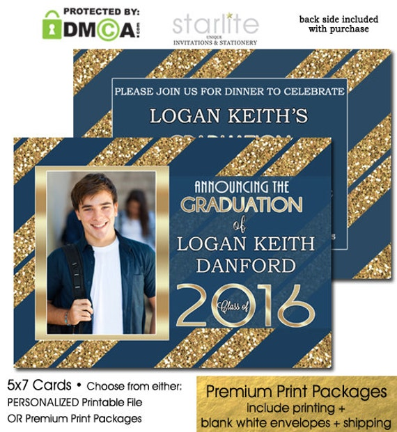 Blue + Gold Glitter Graduation Invitation