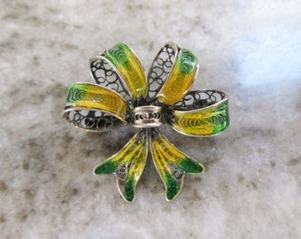 Antique 800 SILVER And ENAMEL Filigree BOW Pin-Yellow/Green