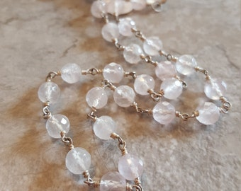 "Rose Quartz (Faceted) Linked with Sterling Silver and Springring Clasp 18.5"" *Clearance* - Free Shipping"