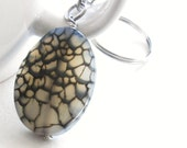 Spider Web Agate Stone Key Chain, Men's Key Ring, Gift for Guys