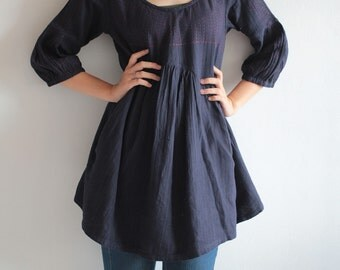 Tone poem...100% cotton,  Indigo dress with hand stitches detail (1402)