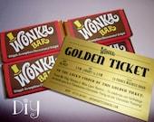 Willy Wonka invitations Wonka Bar & Golden Ticket invitations Willy Wonka birthday party Wonka candy bar wrappers printable DiY editable PDF