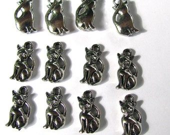 12 Silver Kitty Cat Charms 9X18mm