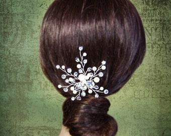 Wedding Hair Accessories, Pearl Crystal Rhinestone Bridal Hair Pins, Swarovski Ivory White Pearls Wedding Head Piece, Hair Comb, Fascinator