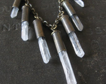 Crystal Bullet Fringe Necklace - Snaggletooth No. 37