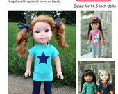 Perfect Layering Tee for Wellie Wishers Dolls Knit PDF Sewing Pattern Sized 14.5 inch dolls