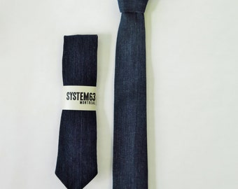 Indigo blue denim tie