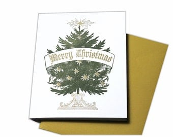 Merry Christmas Letterpress Holiday Card with Christmas tree