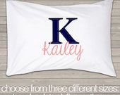 Personalized monogrammed standard size pillowcase great unique gift