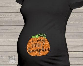 Fall pumpkin little bumpkin glitter DARK maternity top - perfect for Halloween and Thanksgiving  GPBDM