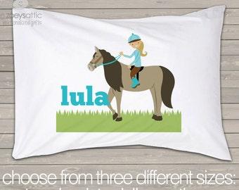 Girl horse pillowcase / pillow - custom personalized pillowcase great birthday gift PIL-012