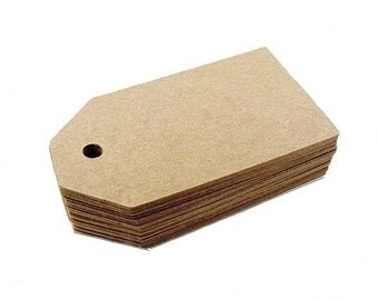 """50 Kraft Tags, Wedding tags, Favor tags, Merchandise tags, Gift tags, Paper tags, 3"""" x 1.75"""""""