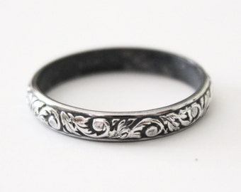 Victorian Floral Ring Band - Sterling Silver 925 - Flur de Lis - Women's Wedding Band - Promise Ring - Shabby Chic - Vintage - Patina