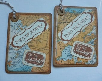 Travel tags bon voyage party tags vintage map vintage inspired handstamped Enjoy the Journey See the World - set of 6