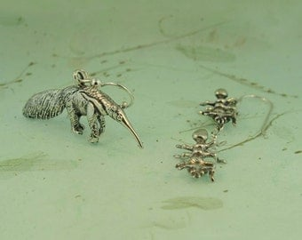 Animal Earrings Insect Earrings Anteater and Ant Earrings Silver Anteater Jewelry Ant Jewelry Insect Jewelry Bug Earrings Funny Earrrings