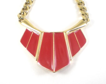 Trifari Enamel Necklace - Gold Red Enamel Choker - Vintage Boho Hippie Jewelry