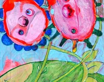 OOAK Original Wild Weeds Painting on Panel