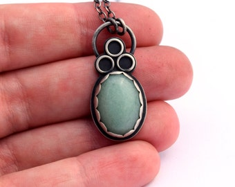 Sterling Silver Necklace, Green Aventurine Necklace, Oxidized Silver, Gemstone Necklace, Sentimental Artisan Jewelry, Contemporary Jewelry