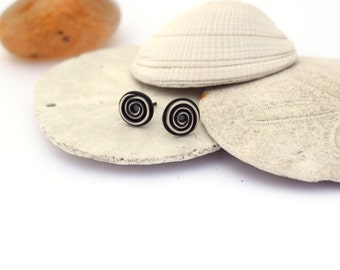 Spiral Earrings, Sterling Silver Post Earrings, Geometric Stud Earrings, Oxidized Silver Earrings, Beach Jewelry, Bohemian Jewerly