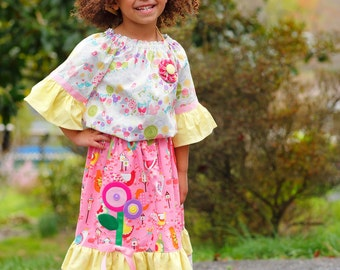 Little Girls Easter Outfit - Maxi Dress - Toddler Girl Clothes - Long Ruffle Skirt - Boutique Pastel Pink - sizes 2T to 8 Years