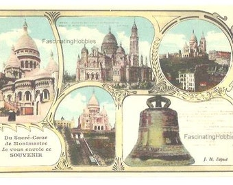 """5 Vintage different early French Postcards - PARIS - SACREDHEART of MONTMARTRE Basilics - Bell """" la Savoyarde""""- years 1910- Good Condition"""