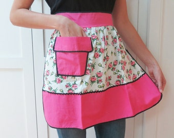 Floral Vintage Half Apron with a Flower Pot Shaped Pocket, Black Trim, Pink & Yellow Flowers and Green Leaves