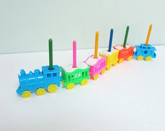 Circus Train Birthday Candle Holders, 1970s Set of Six with Original Box