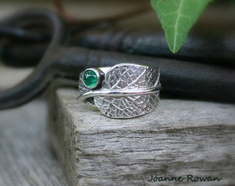 Sage Leaf Ring with Natural Emerald...Nature Lover's Jewelery...Engagement, Wedding, Hand Fasting